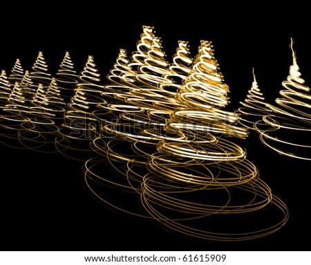 Shining abstract christmas trees - stock photo