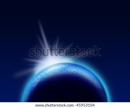 Shining blue planet and bright light phenomenon on dark space background