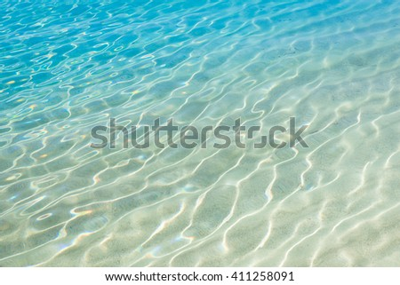 Shining blue water ripple background. Clear sea water background. - stock photo
