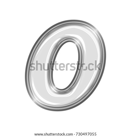 Shining chrome number zero 0 in a 3D illustration with a shiny silver smooth metal surface and a thick metallic basic bold font isolated on a white background with clipping path.