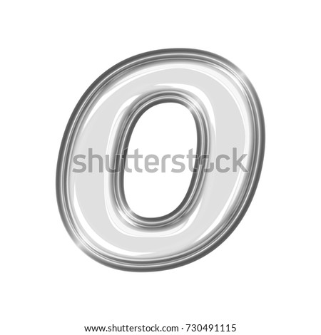 Shining chrome uppercase or capital letter O in a 3D illustration with a shiny silver smooth metal surface and a thick metallic basic bold font isolated on a white background with clipping path.