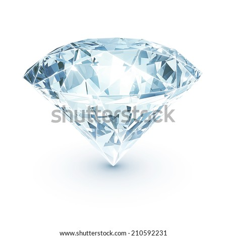 Shining diamond on white isolated with clipping path - stock photo