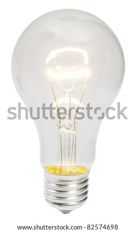 Shining electric bulb lamp isolated on white - stock photo