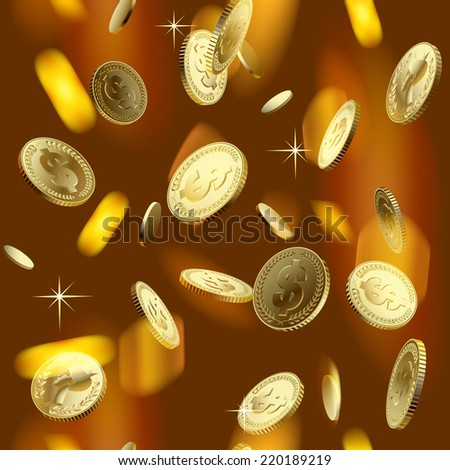 Shining gold money rain. Square seamless pattern background - stock photo