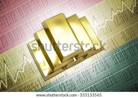 Shining golden bullions lie on a bolivian flag background