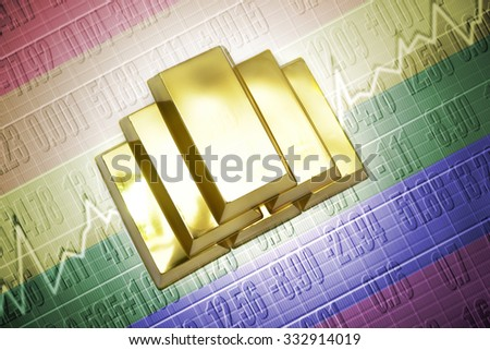 Shining golden bullions lie on a gay flag background