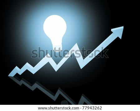 Shining growing business graph with bulb. - stock photo