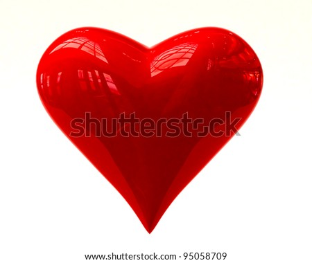 Shining heart isolated on white background - stock photo