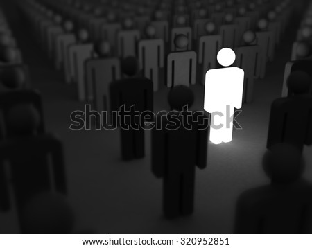 Shining Human Icon. Stand Out From Crowd and Different Concept 3d Render Illustration - stock photo