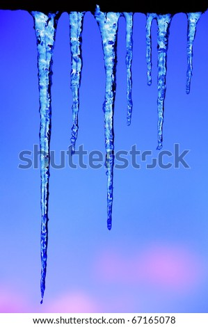 Shining icicles - stock photo