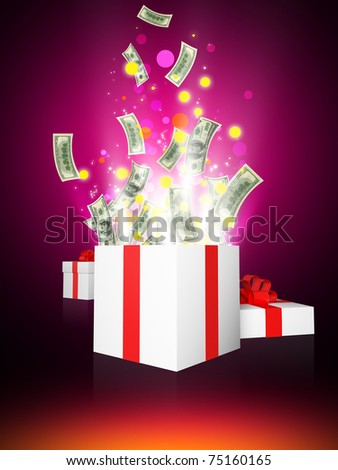 Shining magic gift with dollars - stock photo
