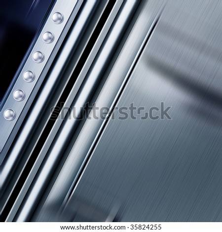 shining metal texture in perspective for background with rivets - stock photo