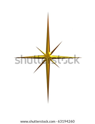 Shining metallic gold Christmas star on white background