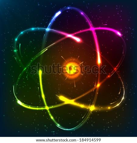 Shining neon rainbow colors atom model - stock photo