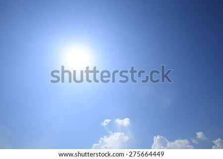 Shining sun at blue sky with white cloud and copy space
