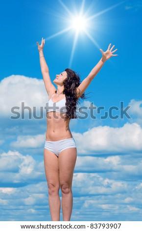 Shining Sun Outdoor Beach - stock photo