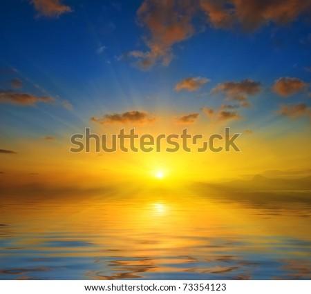 shining sunset - stock photo