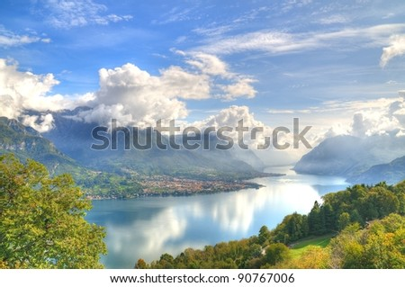 shining view on lake Como - stock photo