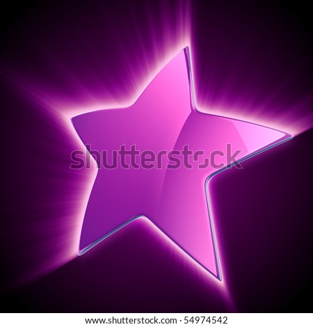 shining violet star on black background