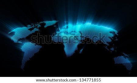 Shining world map - stock photo