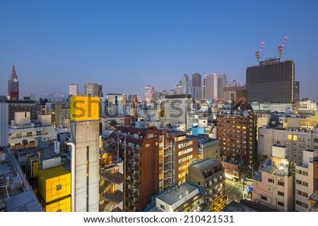 Shinjuku, Tokyo, Japan cityscape at twilight. - stock photo