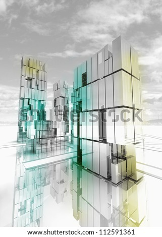 shinning and alight skyscraper business city design concept render illustration - stock photo