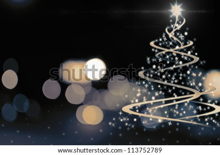 Shinny Christmas Tree, abstract background - stock photo