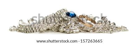Shinny jewellery, isolated on white - stock photo