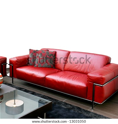 Shinny Red Leather Sofa In Modern Living Room