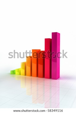 Shiny abstract bar graph indicating growth - stock photo