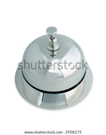 Shiny and polished service bell on a white background with clipping path