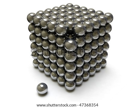 Shiny Ball Cube. 3D visualization - stock photo