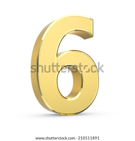 Shiny big golden 3D number on white - isolated with clipping path