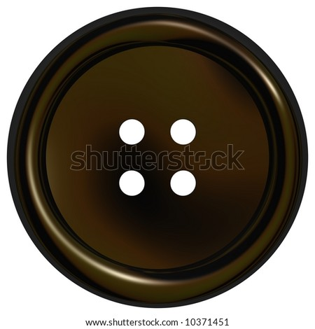 Shiny black clothes button isolated on white - stock photo