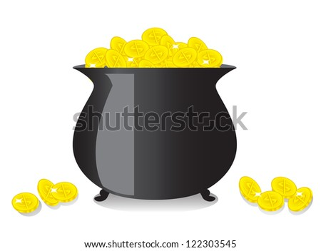 shiny black copper full of gold coins - stock photo