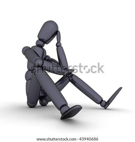 shiny black lay figure sitting on a white ground thinking - stock photo