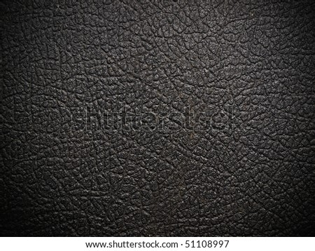 shiny black leather background close up - stock photo