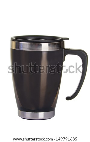 Shiny black Metal travel thermo-cup on a white background - stock photo