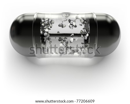 Shiny black pill with microscopic robots inside