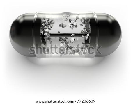 Shiny black pill with microscopic robots inside - stock photo