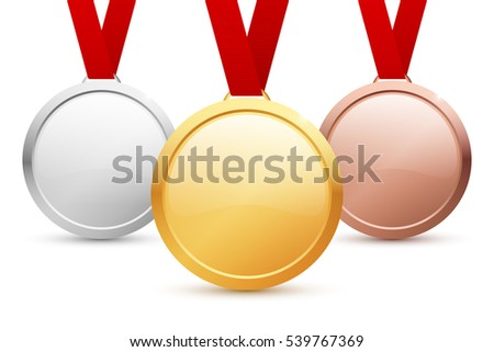 Shiny blank gold, silver and bronze medal templates with copyspace for your text