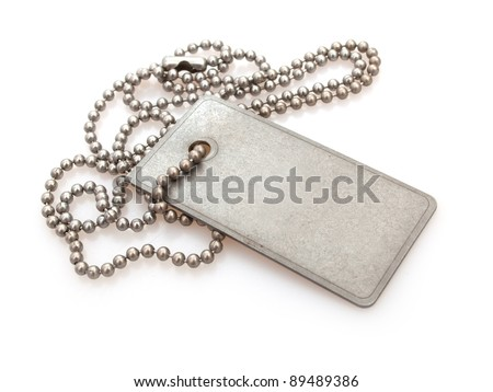 Shiny Blank Metallic Military Identification Plate on White Background With Shadow - stock photo