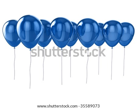 Shiny blue balloons isolated on a white background. - stock photo