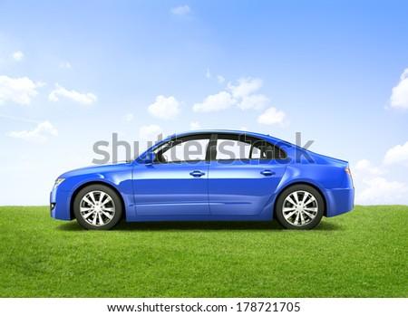Shiny Blue 3D Car - stock photo