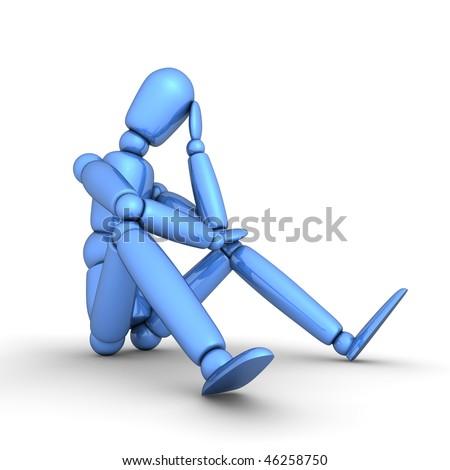 shiny blue lay figure sitting on a white ground thinking - stock photo