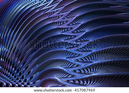 Shiny blue, purple and silver abstract rippling wave design on black background - stock photo