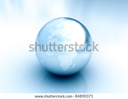Shiny Blue Silver Earth Globe