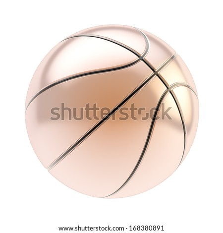 Shiny bronze basketball ball 3d render isolated over white background - stock photo