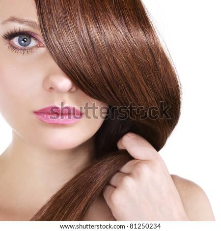 shiny brown hair - stock photo