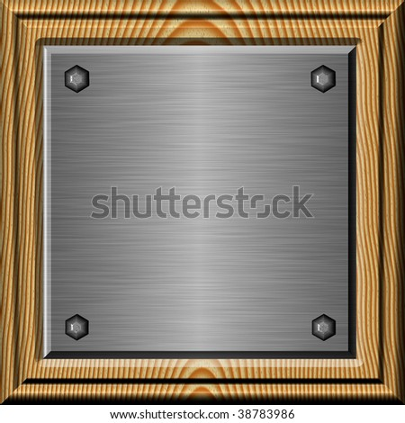 Shiny brushed metal plate in wooden frame